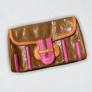 Kate Landry Retro Neon Pink Orange Leather Clutch